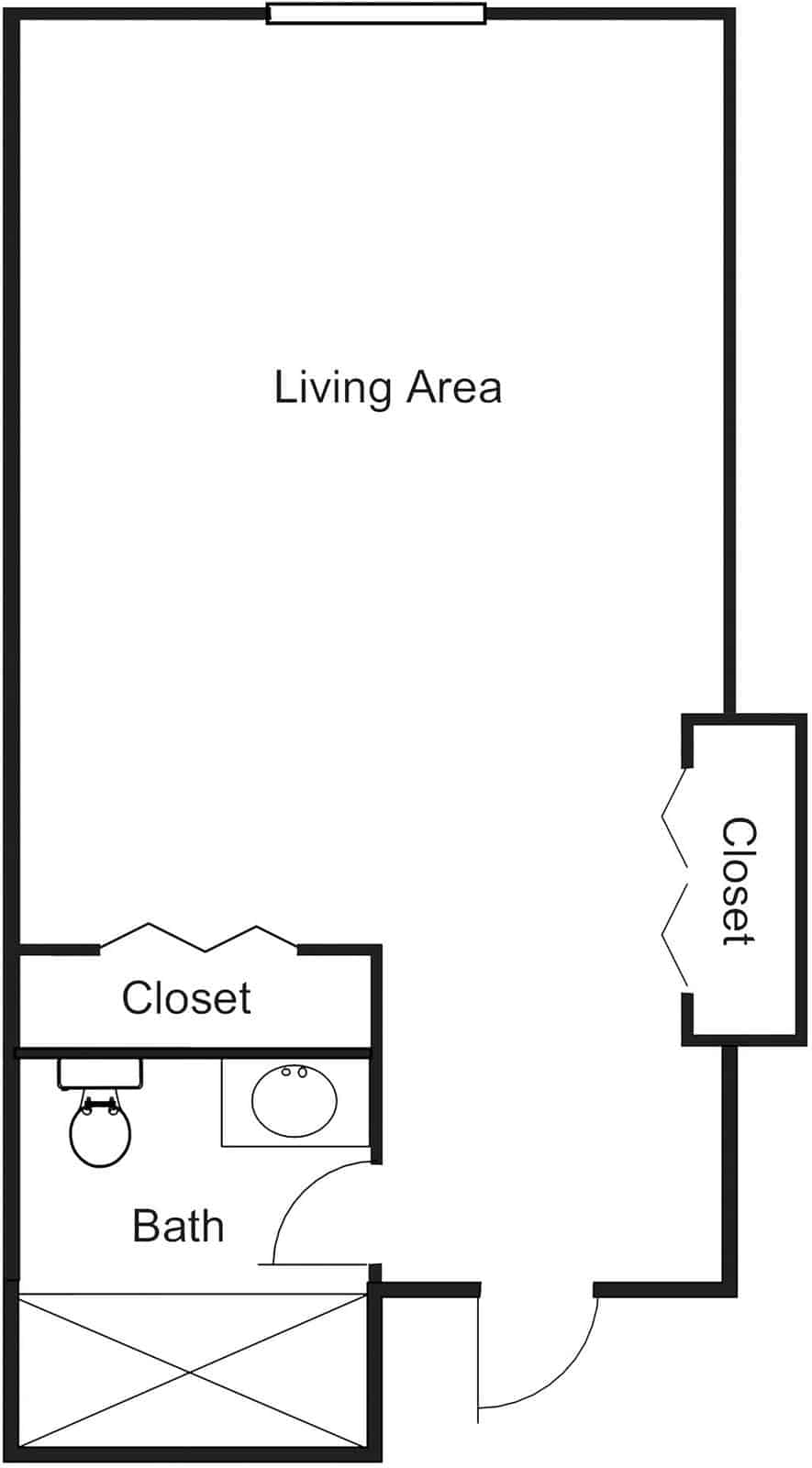 Large Studio Assisted Living Apartment With 322 Sq. Ft.