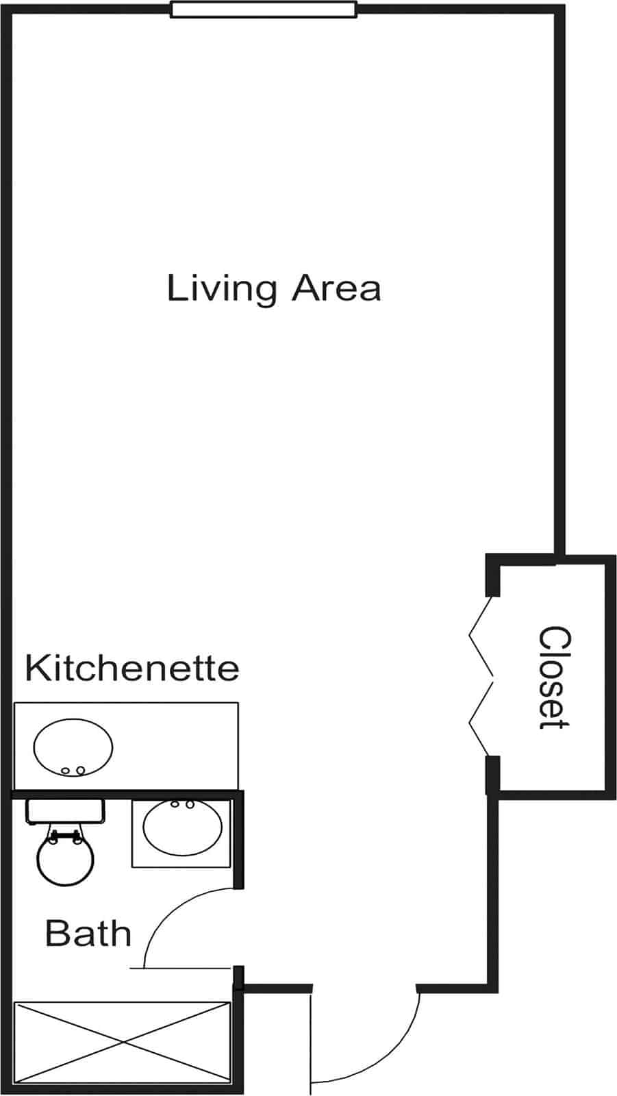 Studio Deluxe Assisted Living Apartment With 290 Sq. Ft.